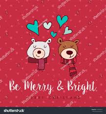merry christmas hand drawn bear greeting stock vector 715083412