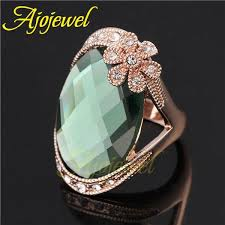 green fashion rings images Fg 2014 big ring design rose gold plated rhinestone flower jpg