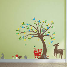 children s tree and animals wall stickers by oakdene designs children s tree and animals wall stickers