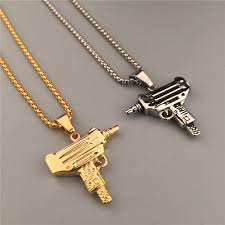 necklace pendant charm images 24k gold silver plated machine gun pistol pendant necklace army jpg