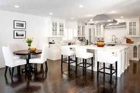 Large Square Kitchen Table by White Kitchen With Dark Wood Floors Transitional Kitchen