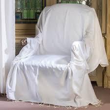 jeté de canapé blanc jeté de fauteuil carré en coton blanc écru f2
