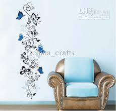 Wall Arts For Living Room by Removable Blue Butterflies And Vines Flower Wall Stickers Decals