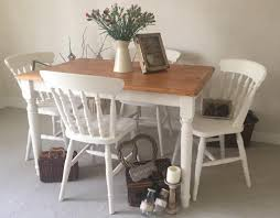 Shabby Chic Farmhouse Table And Chairs Kitchen Dining Table And 4
