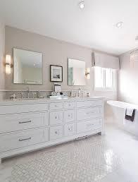 Gray And Tan Bathroom - white and tan bathroom with white marble herringbone tiles