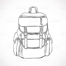 hand drawn backpack vector travelling bag equipment stock vector