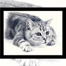 kawaii sketch of cat picture painting crystal u0026 diamond embroidery