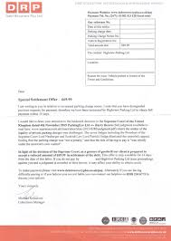 Legal Collection Letter by Debt Recovery Plus Ltd Also T As Parking Collection Services