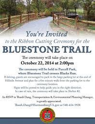 thanksgiving ceremony invitation bluestone trail ribbon cutting ceremony city of harrisonburg va