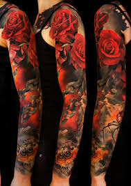 red rose flowers and japanese tattoo on full sleeve