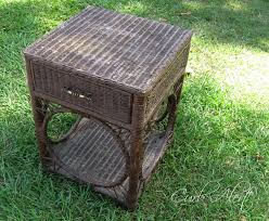 curb alert cute wicker end table in blue