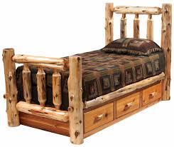 cedar log bed w dresser under bed 12300 lonesome cottage