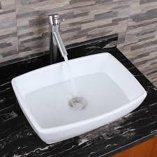 bathroom sink and faucet combo elimax s unique rectangle shape white porcelain bathroom vessel sink