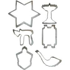 jewish holiday tin cookie cutter set
