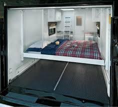 Cargo Trailer With Bathroom Queen Size Electric Drop Down Bed In Cargo Area Interior Vans