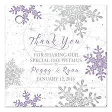 wedding gift tags purple silver snowflake winter wedding favor tag