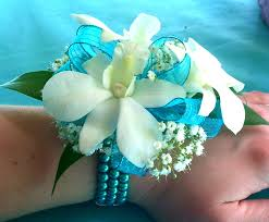 turquoise corsage dodge the florist if your prom dress is turquoise