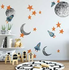 new watercolor planet decals urbanwalls blast off into new decor with our spaceships decal pack perfect for any space cadet s bedroom or playroom each set includes 40 freestanding stickers