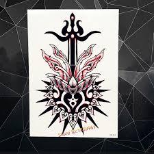 holy war designs waterproof temporary warrior sword tatoo