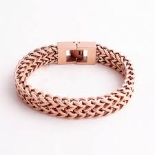 mens rose gold bracelet images Double layer link chain men bracelets rose gold color stainless jpg