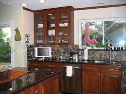 kitchen black galaxy granite cherry cabinets slate tile floor