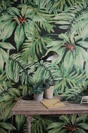 Ent Mural Cuisine Banana Leaf Mural Large Watercolor Martinique Wallpaper Paint