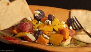 Root Vegetables Roasted - roasted root vegetables with dukkah and goat cheese meatless