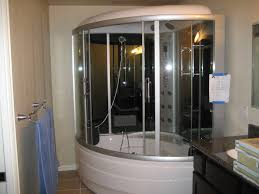 bathroom stylish steam shower unit with curved glass around