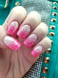 pink tips with silver glitter gel nails nails pinterest