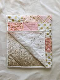 Gold Crib Bedding by Baby Blanket Modern Baby Quilt Pink Gold White