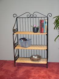 Metal Book Shelves by 4d Concepts 3 Tier Metal Bookcase With Wicker Shelves 143014