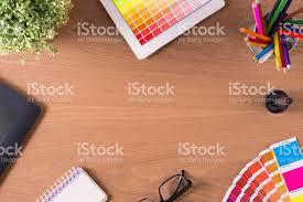 Graphic Designer Desk Professional Creative Graphic Designer Desk Stock Photo 523161726