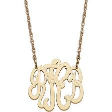 monogram necklace gold personalized women s 10kt gold 3 initial monogram necklace