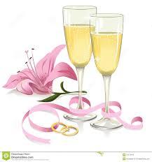 wedding ribbon wedding glasses with rings ribbon and stock vector