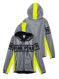 victoria u0027s secret pink anorak full zip hoodie x smalll grey neon