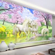 aliexpress com buy custom mural wallpaper european fantasy style aliexpress com buy custom mural wallpaper european fantasy style fairy tale cartoon unicorn cherry blossom wall mural for kids bedroom wall paper from