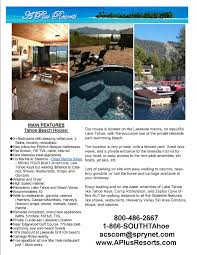 flyer formats lake tahoe cabin and south lake tahoe rentals