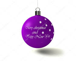 shiny purple christmas tree ball with text merry christmas and