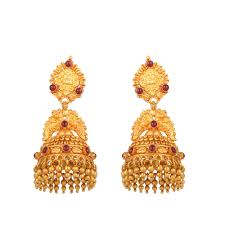 gold jhumka earrings jhumka design 22kt yellow gold earrings ftp8492