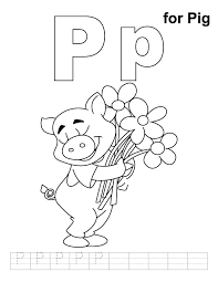 p for pig coloring page with handwriting practice download free