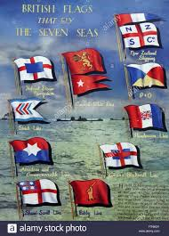 colour poster depicting the british flags that fly the seven seas
