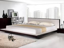 king size minimalist bedroom ideas with white tufted end of bed