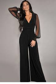 evening jumpsuits for evening dress macacao feminino black embellished cuffs