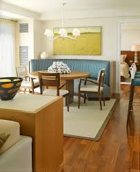 curved dining bench dining room transitional with beach
