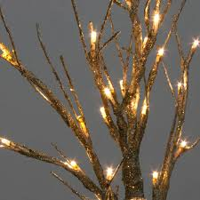 battery operated gold glitter twig tree with warm white led s