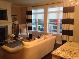 Brown And White Striped Curtains Decorations Dazzling Living Room With Corner White Single Sofa