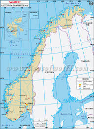 Norway On World Map by Latitude And Longitude Map
