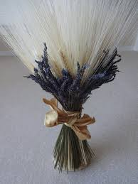 Lavender Home Decor Wheat And Lavender Sheath Floral Arrangement Wedding Decor Home
