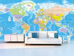World Map For Kids Wall Mural Political Map For The Office Beautiful And Educational