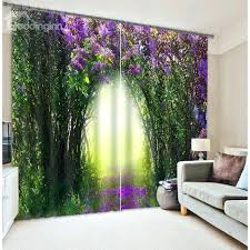 Thick Purple Curtains Purple And Green Curtains Green Trees And Purple Flowers Corridor